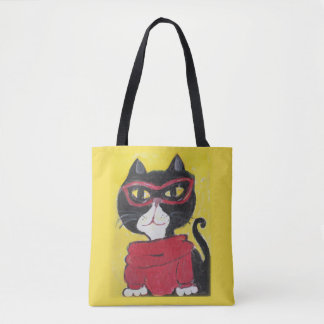 Hipster Folk Art Turtleneck Cat Tote Bag