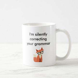 Hipster Fox Grammar Coffee Mug