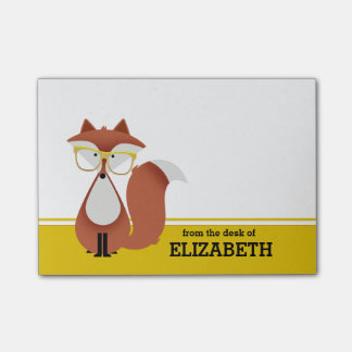 Hipster Fox Personalized Post-It Note