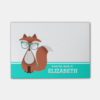 Hipster Fox Personalized Sticky Note