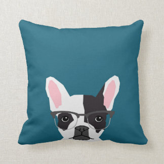 Hipster Frenchie with Glasses - French BullDog Throw Pillow