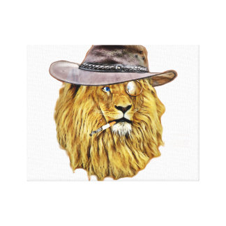Hipster Funny Lion Cat Canvas Print