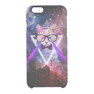 Hipster galaxy cat. clear iPhone 6/6S case