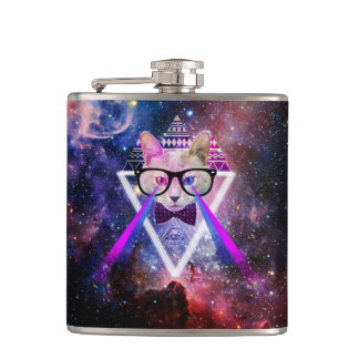 Hipster galaxy cat flask