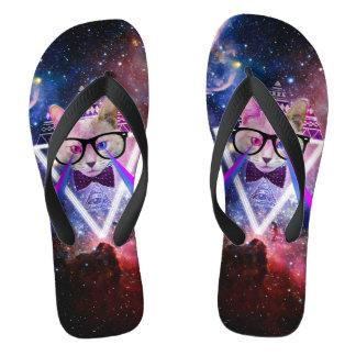 Hipster galaxy cat flip flops