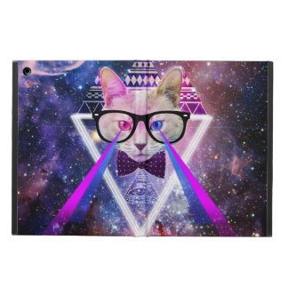 Hipster galaxy cat iPad air cases