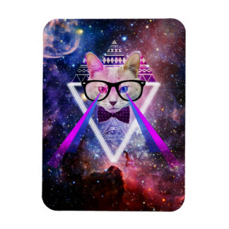 Hipster galaxy cat magnet