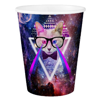 Hipster galaxy cat paper cup