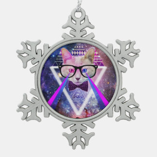 Hipster galaxy cat pewter snowflake ornament