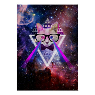 Hipster galaxy cat posters