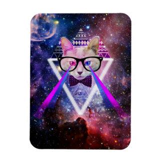 Hipster galaxy cat rectangular photo magnet