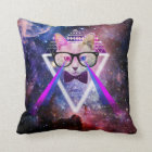Hipster galaxy cat throw pillow
