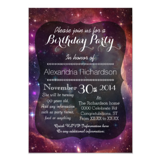"""Hipster galaxy outer space birthday party 5"""" x 7"""" invitation card"""