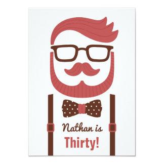 Hipster Gentleman Men Birthday Party Invitations