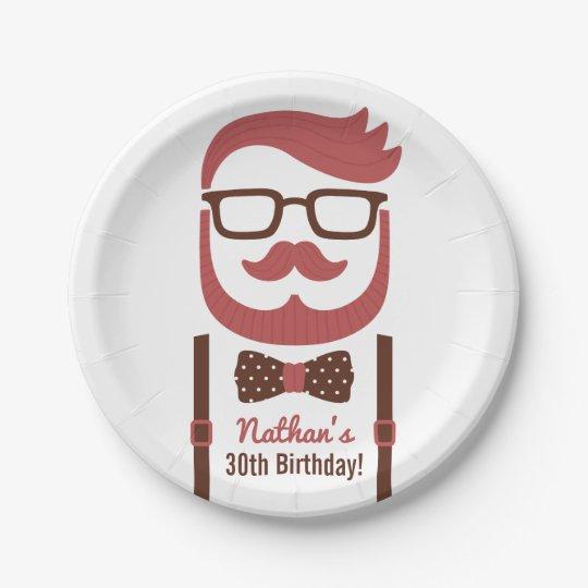 Hipster Gentleman Men Birthday Party Supplies 7 Inch Paper Plate
