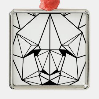 Hipster Geometric Panda Metal Ornament