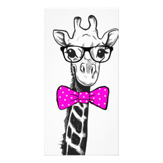 Hipster Giraffe Custom Photo Card