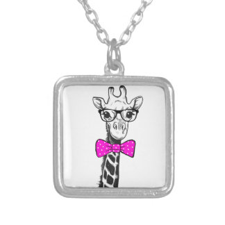 Hipster Giraffe Silver Plated Necklace