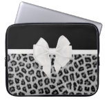 Hipster Girly Black White Animal Print And Bow Computer Sleeves
