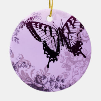 hipster girly boho chic butterfly round ceramic ornament
