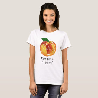 Hipster Give Peach A Chance Pun T-Shirt