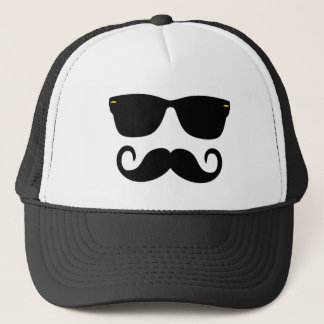 Hipster - Glasses and 'Stache Trucker Hat