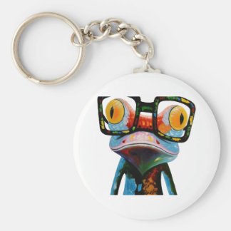 Hipster Glasses Frog Basic Round Button Keychain