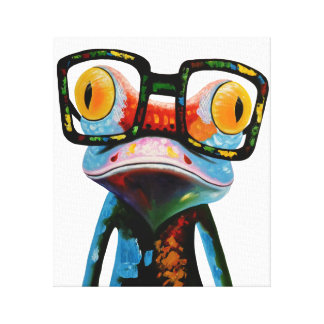 Hipster Glasses Frog Canvas Print