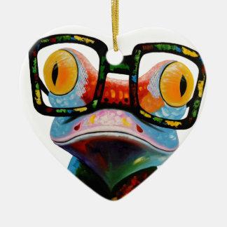 Hipster Glasses Frog Ceramic Heart Ornament