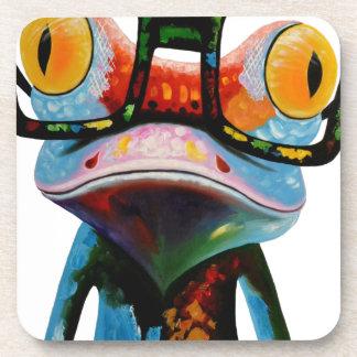 Hipster Glasses Frog Coaster