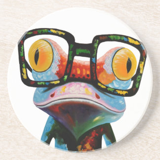 Hipster Glasses Frog Coasters