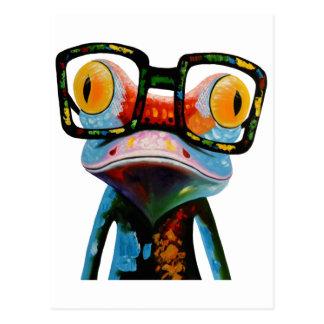 Hipster Glasses Frog Postcard