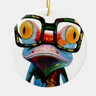 Hipster Glasses Frog Round Ceramic Ornament