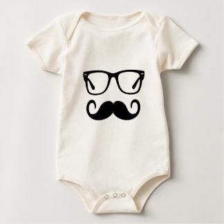 Hipster Glasses & Handlebar Mustache Baby Bodysuit