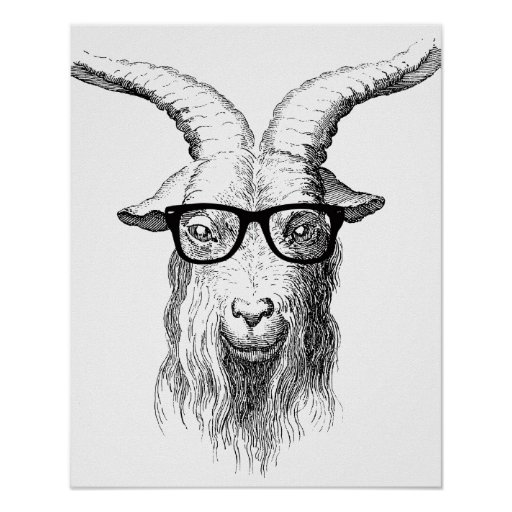 Hipster Goat Print