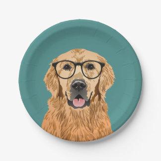 Hipster Golden Retriever Paper Plate