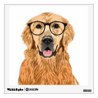 Hipster Golden Retriever Wall Sticker