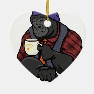 Hipster Gorilla Ceramic Heart Ornament