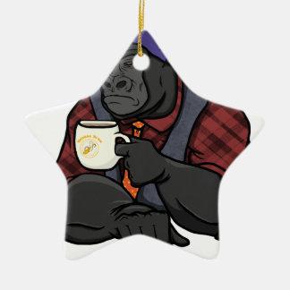 Hipster Gorilla Ceramic Star Ornament