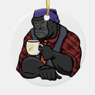 Hipster Gorilla Round Ceramic Ornament
