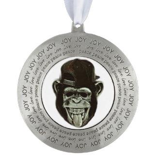 Hipster Gorilla Round Pewter Ornament