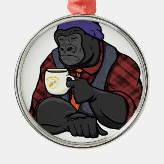 Hipster Gorilla Silver-Colored Round Ornament