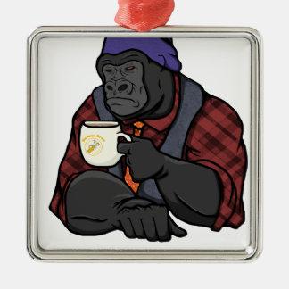 Hipster Gorilla Silver-Colored Square Ornament