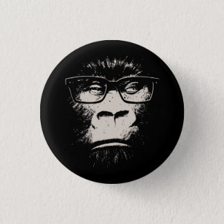 Hipster Gorilla With Glasses 1 Inch Round Button