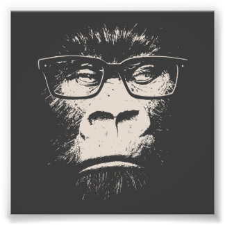 Hipster Gorilla With Glasses Photo Print