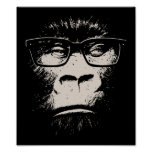 Hipster Gorilla With Glasses Print