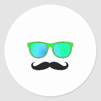 Hipster - Green Mirrored Shades Classic Round Sticker