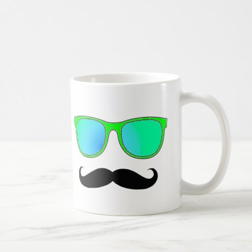 Hipster - Green Mirrored Shades Coffee Mugs