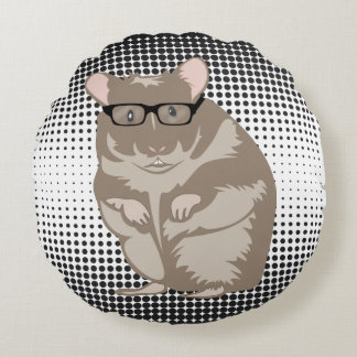 Hipster Hamster on Half Tone Dots Pillow