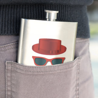 Hipster Hat,Cool Shades and Mustache Flasks